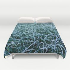Frosty Morning Duvet Cover - $99.00  Ultra soft, lightweight, microfiber duvet covers. A durable, hidden zipper offers simple assembly for easy care. Available for queen and king duvets - duvet insert not included.  #duvet #bedding #cover #grass #frost #frosty #cold #winter #green