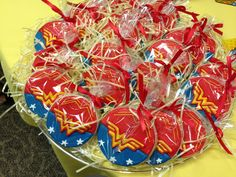 Wonder Woman Party ~ Desserts ~ Wonder Woman Cookies! Baby Wonder Woman, Wonder Woman Cake, Wonder Woman Birthday, Wonder Woman Party, Birthday Woman, Wonder Women, Birthday Goals, 32 Birthday, Birthday Ideas