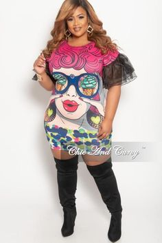 Final Sale Plus Size Pop Art BodyCon Dress in Multi Color Print with - Black  Ruffle 34f90e2b8
