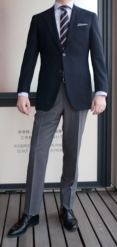 Navy on grey slacks- yes thatd be DC fresh- but dont forget those amazing black leather beautys!