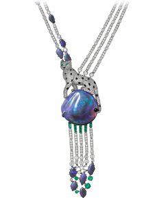 CARTIER. HIGH JEWELRY NECKLACE Platinum, opals, emeralds, onyx, diamonds.