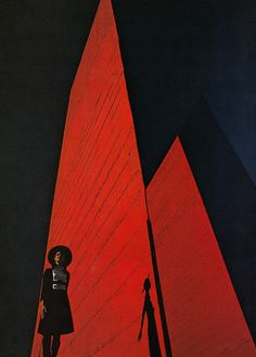 This image stood out to me as it is very bold in shape and block colour. The figure in the foreground helps to give perspective.