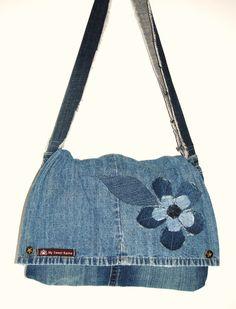 My Sweet Karma upcycled jeans messenger bag purse by mysweetkarma on Etsy https://www.etsy.com/listing/478184609/my-sweet-karma-upcycled-jeans-messenger