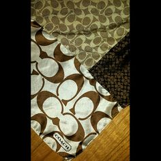 """%Authentic Coach silk scarf/brown & tan tones Open to offers!!  Beautiful 100% authentic Coach silk scarf! Like new...hues  of browns, tans,& white.  Where around neck, bags or head! Looks great just about anywhere. Measures at 22""""x22""""  Can go less on Merc as well!! Just ask me Coach Accessories Scarves & Wraps"""