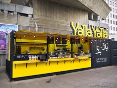 Place of the week: Yalla Yalla, a Beirut street food spot in London Ort der Woche: Yalla Yalla, ein Streetfood-Lokal in Beirut in London – deVOL Kitchens Container Food, Container Coffee Shop, Container Design, Food Containers, Kiosk Design, Cafe Design, Shipping Container Restaurant, Kids Restaurants, Food Kiosk