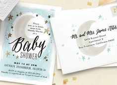 Moon and stars theme baby shower for baby boy from minted.com