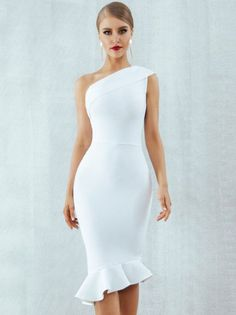 Bandage dress - Luxurious 2019 New Summer One Shoulder Ruffles Evening Party Dress – Bandage dress Dresses Elegant, Pretty Dresses, Sexy Dresses, Casual Dresses, Short Dresses, Fashion Dresses, Sparkly Dresses, Cheap Dresses, Elegant White Dress