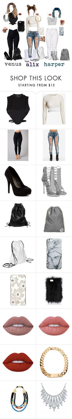 """/1/ $quad"" by deliriousxdoc ❤ liked on Polyvore featuring Morgan, Elizabeth and James, Topshop, Michael Antonio, NIKE, Xenab Lone, Converse, Kate Spade, Lime Crime and Bling Jewelry"