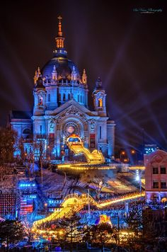St. Paul Cathedral - Crashed Ice during St. Paul Winter Carnival
