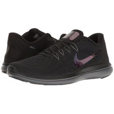 Nike Flex RN 2017 BTS (Black/Dark Grey/Dark Red) Women's Shoes ($68) ❤ liked on Polyvore featuring shoes, athletic shoes, lightweight breathable shoes, nike footwear, black athletic shoes, training shoes and lightweight training shoes