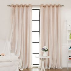 Best Home Fashion, Inc. Lace Tulle Overlay Light Filtering Blackout Curtain Panel & Reviews | Wayfair