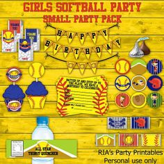 Girls Softball Small Party Pack by RIAsPartyPrintables, $30.00