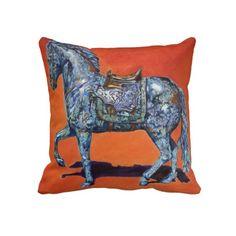 Throw Pillow - Indigo #pillows #equine #decor