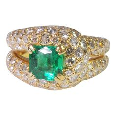 Boucheron Emerald Diamond Gold Ring   1stdibs.com
