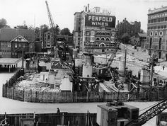 Construction of Circular Quay Railway Station in Sydney (year unknown).