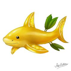creature doodle lemon shark by ArtKitt-Creations on DeviantArt Cute Food Drawings, Cute Kawaii Drawings, Kawaii Doodles, Cute Animal Drawings, Animal Sketches, Kawaii Art, Cartoon Drawings, Cute Fantasy Creatures, Mythical Creatures Art