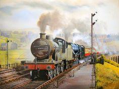 The Somerset & Dorset Railway in the Midland pilots an LMS Black Five on an express. Diesel Locomotive, Steam Locomotive, Transport Pictures, Uk Rail, Steam Art, Steam Railway, Train Art, Railway Posters, Steam Engine