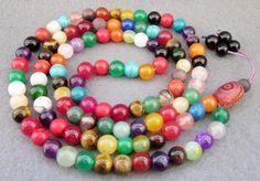 8mm 108 Colorful Jade Beads Tibet Buddhist Prayer by 8giftshop, $11.90