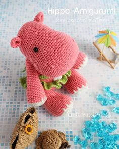 Hady Hippo Amigurumi Free Crochet Pattern This happy hippo is on vacation, so. : Hady Hippo Amigurumi Free Crochet Pattern This happy hippo is on vacation, so don't bother her much! She has her hat and beach bag, as well as frilly bathing suit. Crochet Hippo, Crochet Gratis, Crochet Patterns Amigurumi, Cute Crochet, Crochet Animals, Crochet Toys, Craft Patterns, Canvas Patterns, Stuffed Toys Patterns