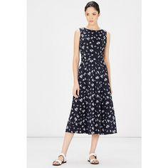 Buy Warehouse Leaf Print Midi Dress, Blue/Pattern, 6 Online at johnlewis.com
