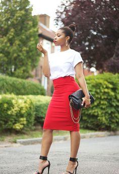 Zara high waisted pencil skirt, Michael Agwunobi tee, Zara ankle strap sandals, TOPSHOP bag, H&M Jewellery