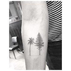 Pine tree for mama and palm for her boy #halfneedle