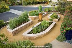 Stone raised bed vegetable beds in California front yard garden, lawn substitute