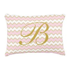 Monogram Pastel Child Pink Gold Chevron Woman Ornamental Pillow.  See more by visiting the photo