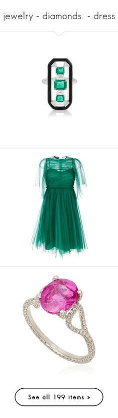 """jewelry - diamonds  - dress"" by saltless ❤ liked on Polyvore featuring jewelry, rings, dresses, green, green silk dress, green dress, blue pleated dress, silk dress, silk pleated dress and pink sapphire jewelry"