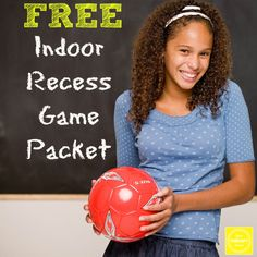 "Here are a few freebies that work great for indoor recess when you need something in a hurry. They would make a fun back to school gift for teachers – print them off, toss them in a file folder and teachers have some ""go to"" activities for when the weather takes a turn for the […] Gross Motor Activities, Classroom Activities, Physical Activities, Physical Education, Classroom Routines, Kindergarten Games, Indoor Activities, Health Education, Learning Activities"