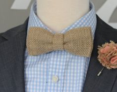 Natural Burlap and Laсe Wedding Bow Tie by BugAndPepper on Etsy