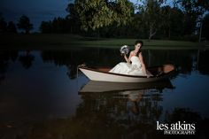 Floating on the lake! Gown from Songbirds Bridal, Formal & Consignments. Photo by Les Atkins. Venue is the Oaks at Salem. #bride #bridal #gown #weddinggown #bridalgown #ncbride #yestothedress #weddingphotography #triadbride