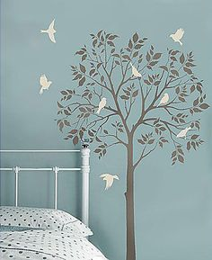 Large Tree & Birds Stencils - cute for a corner....include family photos and make it a family tree!
