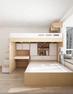 Loft Beds For Small Rooms, Small Room Design Bedroom, Space Saving Bedroom, Simple Bedroom Decor, Bedroom Furniture Design, Home Room Design, Bunk Bed Rooms, Loft Room, Bedroom Loft