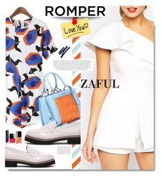"""Zaful.com: Romper, I love you."" by hamaly ❤ liked on Polyvore featuring Miu Miu, Chloé, By Terry, women's clothing, women, female, woman, misses, juniors and outfit"