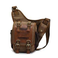 KAUKKO FH03 Dark Khaki Canvas Corss-body Chest Bag Sling Pack (Size: 8.27x3.54x10.24inch)