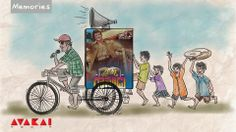 """Cinema Bandi"" is a typical rickshaw used in villages for promoting an upcoming or current movie. A rickshaw wala cycles around the village announcing about the film, cast and theatre.  ""Nede choodandi babu"" is a usual telugu phrase which is uttered by him frequently, and is also used on the Posters."