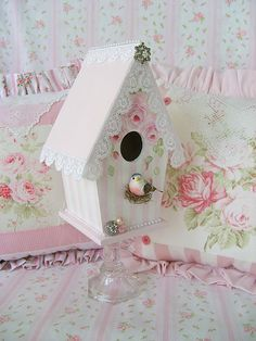 Sweet n' Shabby Original Birdhouse by sweetnshabbyroses, via Flickr - beautiful!!! #shabby #chic #birdhouse #bird #house #lace #roses tå√