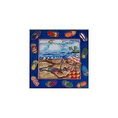 Beach Scene with Flip Flops Decorative Ceramic Wall Art Tile Decorative Wall Tiles, Ceramic Wall Art, Ceramic Decor, Tile Art, Beach Scenes, Flip Flops, Ceramics, Amazon, Painting