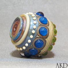 Focal Lampwork Bead Handmade Round Blue & Green by AKDlampwork