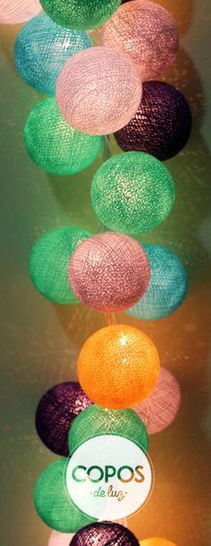 Guirnalda de luz mumbai bolas de hilo y luz artesanales - Bolas de hilo ...