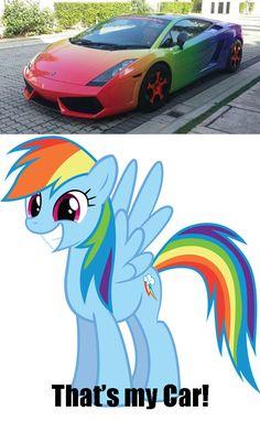 Rainbow dash and a car = Rainbowcar ;) so cute