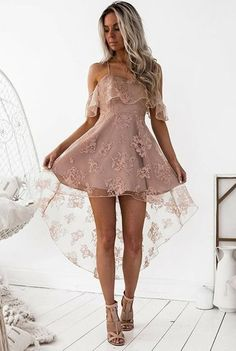 Blush Homecoming Dress, Lace Prom Dress, Prom Dress High Low, Homecoming Dress A-Line, Custom Homecoming Dress Homecoming Dresses 2018 Dresses Short, Short Mini Dress, Cheap Dresses, Cute Dresses, Beautiful Dresses, Formal Dresses, Prom Dresses, Formal Prom, Mini Dresses
