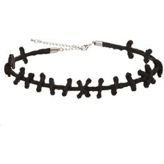 Black Stitch Choker | Hot Topic ($5.47) ❤ liked on Polyvore featuring jewelry, necklaces, accessories, bracelets, choker, choker jewelry and choker necklace