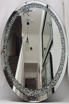 Round Wall Mirror, Mirror Art, Mirrored Furniture, Home Decor Furniture, Silver Wall Clock, Large Living Room Rugs, Decorating Mirrors, Decoration, Bathroom