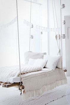 Bohemian Style White Hanging Daybed - Hanging chair - Swinging Chair. Interior Design, Home Decor, Interior Styling, Home Inspiration, Home Styling, Interior Trends, Design Trends, Design Furniture, Interior Accessories, Design for your Home, Decorating Ideas, Interior Design Blog, Living, Styling, Design, Bathroom, Bedroom, Living room, Kitchen, Interior, Exterior, Garden and Landscape Design, Architecture. http://whatiwouldbuy.com/SWINGING+CHAIRS+DAYBEDS+AND+HAMMOCKS
