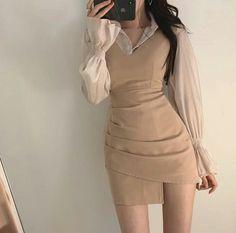 Glamouröse Outfits, Kpop Fashion Outfits, Korean Outfits, Cute Casual Outfits, Pretty Outfits, Girly Outfits, Fashion Dresses, Korean Girl Fashion, Ulzzang Fashion