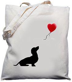 Dachshund Dog with Ballon Design Natural cream cotton shoulder bag