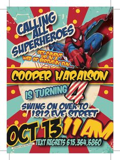 Spiderman Birthday Invitation I like the wording and can add girl