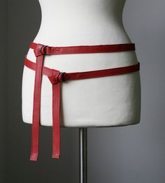 skinny double leather belt RED by VdeuxAccessories on Etsy